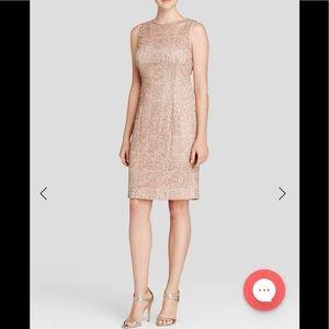 Adrianna papell sleeveless nude gold sequin dress